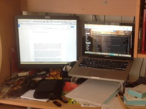 My Mac at my desk, with stand and second monitor… cheaper to set up than it looks and something that does actually help productivity...